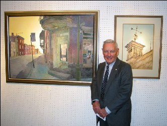 Leslie Coppold with two of his works